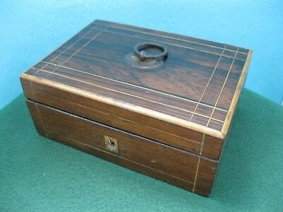 Vintage/antique Small Inlaid Jewellery/money Box With Carrying Loop, Lock No Key