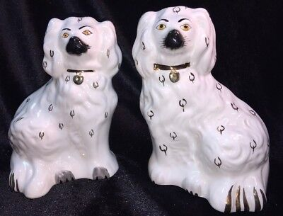 Pair Of BESWICK Old English Mantlepiece Dogs 1378-6 White With Gold-hand Painted