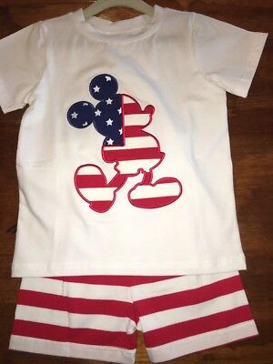 Boutique Mickey Mouse Short Set Boys Size 4 T America NWT
