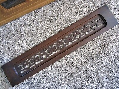 Large 1800s Tiger Oak Fretwork Pediment Ornate Cabinet Victorian Carved Panel