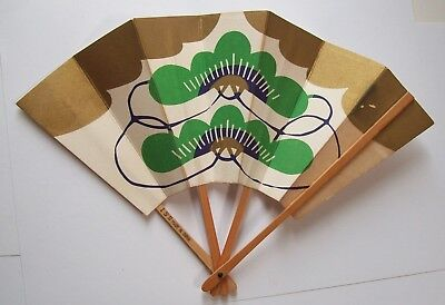 Vtg Japan Air Lines Folding Fan with Wine List on Back / Metallic Gold Paint
