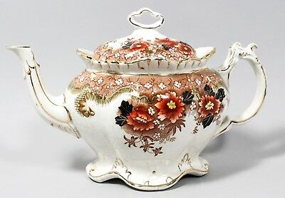 Early Victorian English Staffordshire ironstone china oval baluster teapot