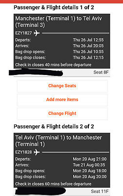 Easyjet Ticket for one, MAN - TLV 26 July, return 20 Aug. CHILD TICKET