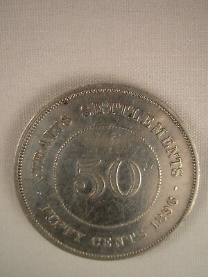 1896 Straits Settlements 50 cents 50c - Nice Condition!