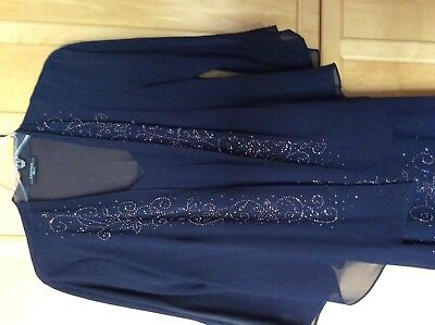 R&M Richards Women's Plus Size 14 Beaded Jacket Mother of the Bride Dress Navy
