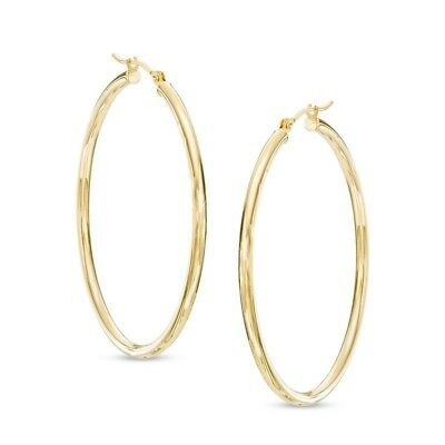 14K Yellow Gold 3x30mm Polished Faceted Round Tube Hoop Earrings