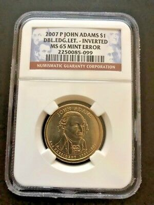 John Adams Double Edge Lettering Ngc Ms65 Inverted Mint Error Dollar Coin
