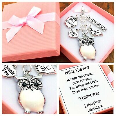 WISE OWL charm, THANK YOU TEACHER GIFT, school, PERSONALISED GIFT BOX