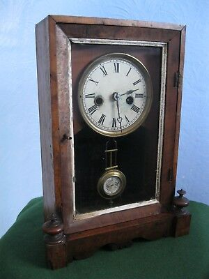 Antique Wood Cased Glazed Mantel/shelf Clock, Working, Requires T. L.c