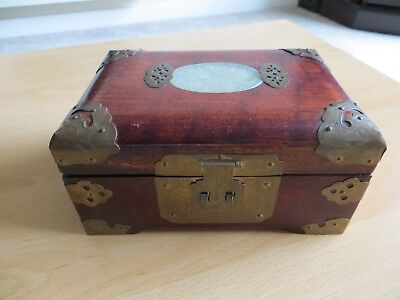 wooden chinese style jewellery box with brass fittings