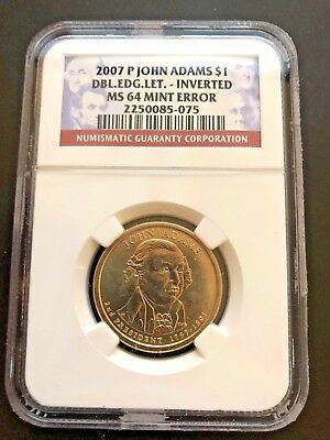 John Adams Double Edge Lettering Ngc Ms64 Inverted Mint Error Dollar Coin