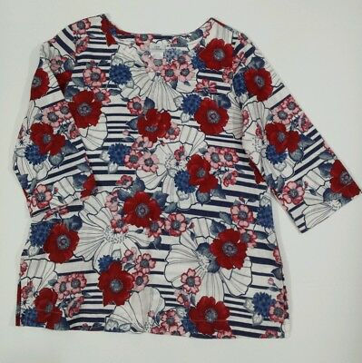 Hot Cotton Medium Linen Blend Tunic Red White Blue Floral Stripe Blouse USA Made