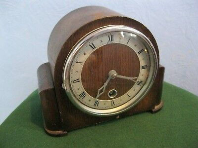 Bentima England 8 Day Small Wood Cased Mantel Clock, Requires Attention, No Key.