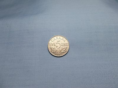 1932 Canada Five Cent Coin KM#29  Composition is Nickel