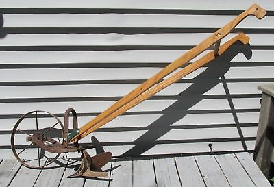 Vintage Planet Jr  Wheel Hoe Single wheel cultivator with plow & new handles