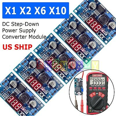 LM2596 Buck Step-down Power Converter Module DC 2.5~40 to 1.25-37V LED Voltmeter