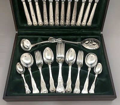 Kings pattern silver plate boxed flatware cutlery canteen set 44pc 6 person