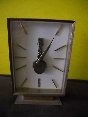VINTAGE Sheffield DESK Clock For Parts WHITE Face GOLD Hand NUMBERS West GERMANY