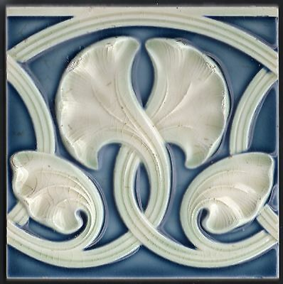 Art Nouveau original ca1900 Majolica tile 6x6 Ginko Leaves Prussian Blue Helman