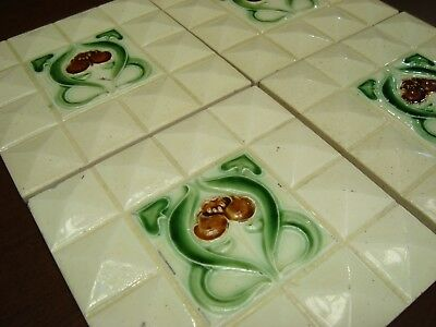 Antique Majolica SET OF 4 tiles EMBOSSED DIAMOND ART NOUVEAU STYLE FLOWERS CREAM