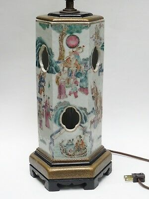 ANTIQUE 19c QING CHINESE HEXAGONAL FAMILLE ROSE HAT STAND VASE MOUNTED AS LAMP
