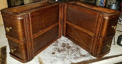 Pair Antique Singer Treadle Sewing Machine Double Drawers 66 Red Eye. NICE!