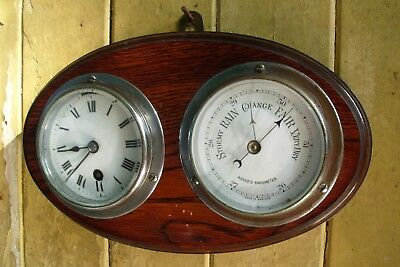 Ships Clock Wall French  Escapement Balance  And   Barometer  For  Repair