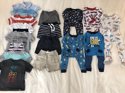 21 Pcs, Guc 12-18 Month Lot Summer Spring Boy Clothes Pajamas