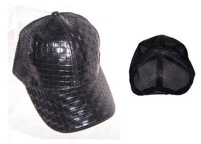 Faux Leather Baseball Mesh Caps For Adults - Black (WomCap49*)
