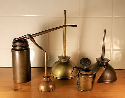 Antique Copper and Brass Oil Cans, Plews and Eagle Brands