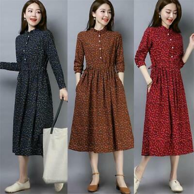 Women Cotton Linen Floral A-line Casual Long sleeve Empire Waist Maxi Dress 2XL