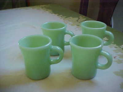 VINTAGE FIRE KING JADEITE SLIM CHOCOLATE MUGS (x4)