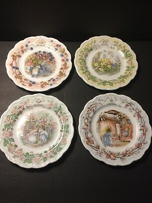 4 ROYAL DOULTON BRAMBLY HEDGE SEASONS PLATES All 4 Seasons MINT 8 inch Collector
