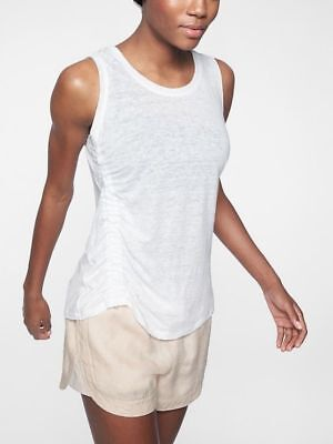 NWT Athleta Linen Ruched Tank Top, Bright White, sz L Large  #297579