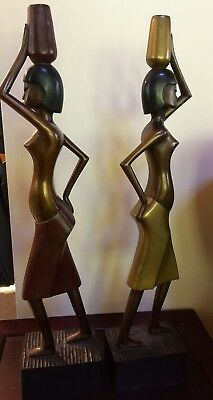 Antique Art Deco Figures Bronze Statues Semi Nude Egyptian Revival Signed GV