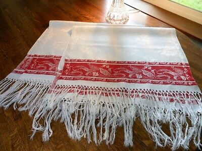 Vintage PAIR Turkey Red Linen Damask Show Towels CORN Design Fringe Floral Fab