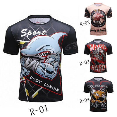 New Animal Men's Short Sleeve BJJ T-Shirt UFC Rash Guard MMA Garment Fight Wear