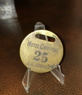 Rare 1890s Hotel Chippewa H.C. Connell Room 25 Brass Key Tag