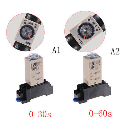 220V H3Y-2 Power On Time Relay Delay Timer 0-30s/60s DPDT & Base Socket 3C