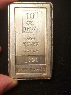 10 Troy oz USVI Ingot Assay Lot 791 A Mark 999 Silver Bar