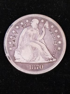 1870 CC Liberty Seated Silver Dollar Counterstamp Love Token Mary to Wellington
