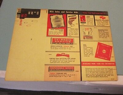 1953 RCA Electron Television Tubes Price List + Sales and Service Aids Chart