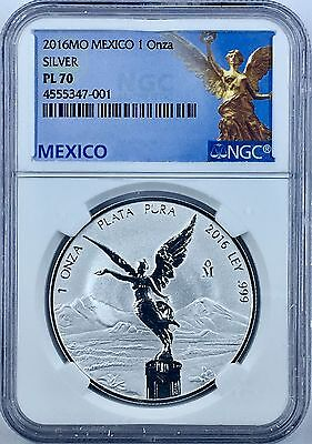 2016 1oz Silver Libertad Reverse Proof  Treasure Coin of Mexico™ NGC PL-70