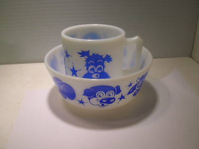 Hazel Atlas Child's Kid's Children's Bowl & Mug Bear Bunny Duck & More Blue