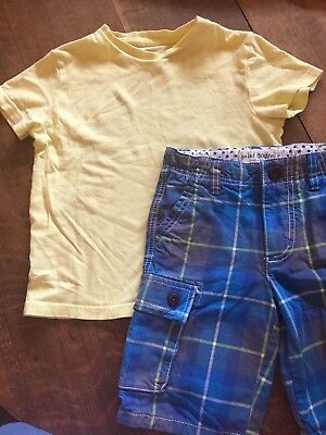 Mini Boden Boys Size 7-8 YELLOW Essential Shirt and Size 6 Plaid Board Shorts