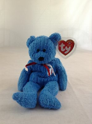 2001 Ty Beanie Baby Blue Bear Addison Baseball Stuffed Plush Toy With Tags