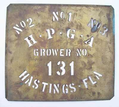 Vintage Hastings (Florida) Potato Growers Association Brass Barrel Sack Stencil