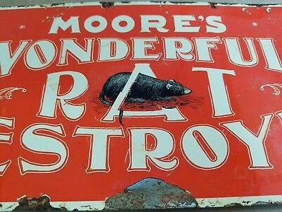 Rare Moores Wonderful Rat Destroyer Porcelain Sign Rodent Killer Death Mouse