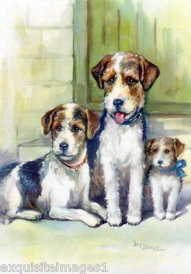 Vintage Art~Dawson~Wire Haired Fox Terrier Dog Dogs Family~NEW Large Note Cards