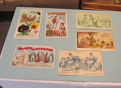 New Home Sewing Machine 6 Victorian Trade Card Lot Orange Massachusetts New York
